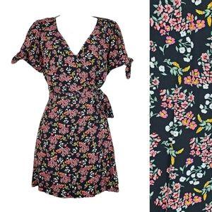 LOFT Black Pink Bow Knot Tie Floral Wrap Romper 4P